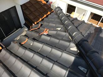 台風被害を受けた瓦屋根
